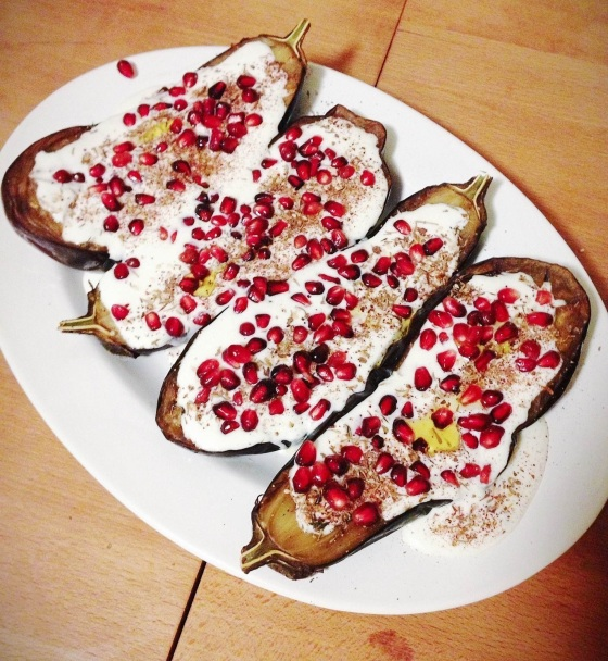 Eggplant with Buttermilk Sauce and Pomegranate Seeds