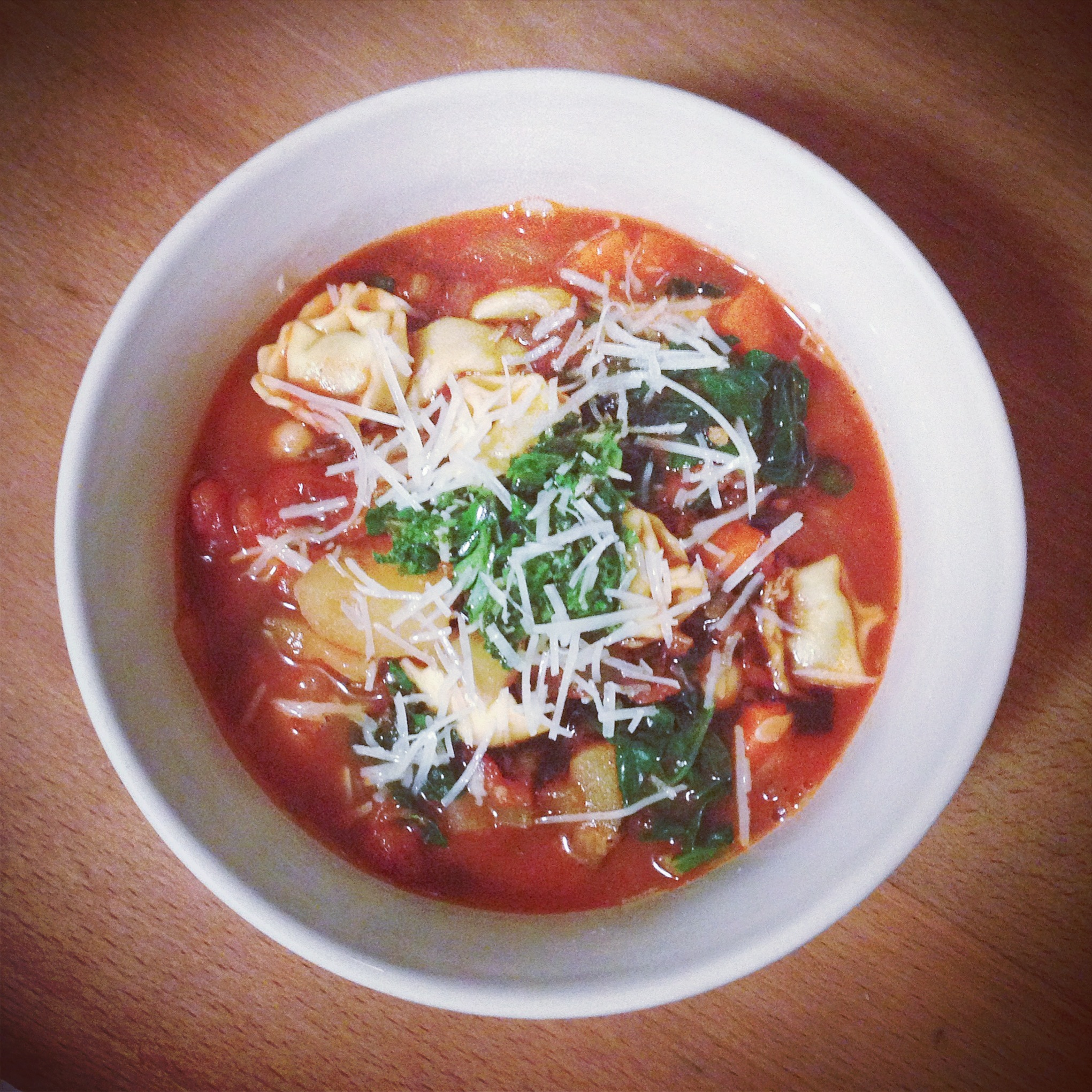 recipe // smoky minestrone with tortellini and pesto